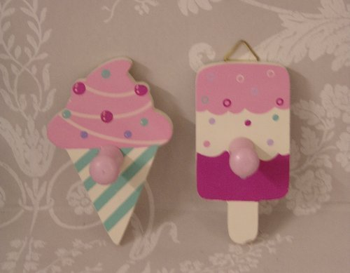 Set of Two childrens Ice Cream Novelty Coat hooks for girls or boys rooms:  Amazon