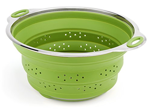 Best Large Collapsible Silicone Colander/Strainer with Stainless Steel Base by Chef Frog™ by Chef FrogTM