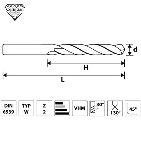 Corintian VHM Foret /à m/étaux /Ø 1-12 mm