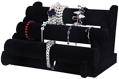 Velvet Jewelry Stand - 3-Tier Jewelry Bracelet Necklace Display Rack, Black 12 x 9 x 7 Inches