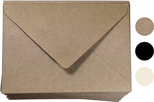 A2 Kraft Paper Envelope Size 100 Pcs, by Secret Life 4-3/8 x 5-3/4 Inches, RSVP Envelope