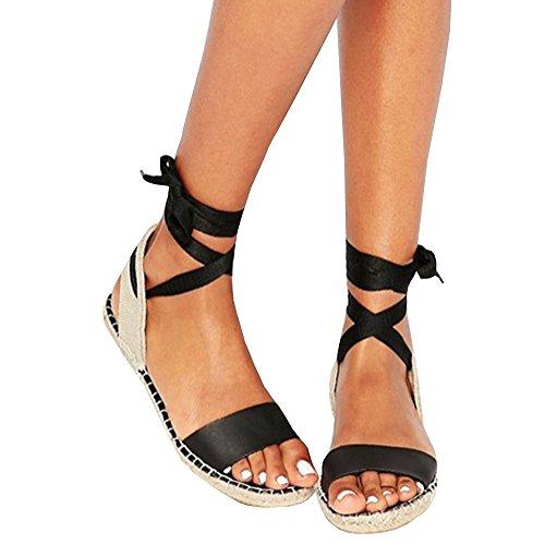 Shele Womens Tie Up Flat Espadrilles Sandals Suede Strap Ankle Wrap Classic Lace Up Shoes (41 EU- 27.53 cm (Foot Length) - 9 US, Z-White) (40 EU- 26.87 cm (Foot (Ankle Tie Espadrille)