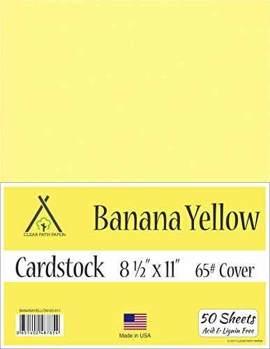 65Lb Cover 8.5 x 11 inch 50 Sheets Banana Yellow Cardstock