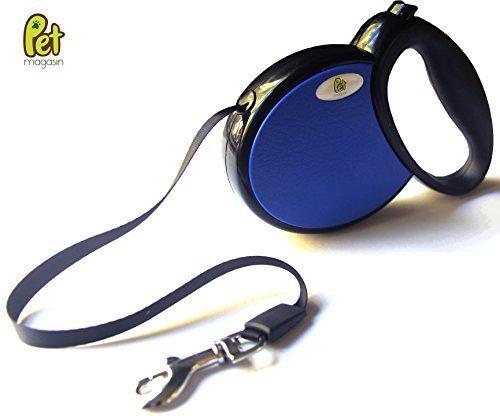 Retractable Dog Leash (Dark Blue, Medium) with Poop Bag Holder