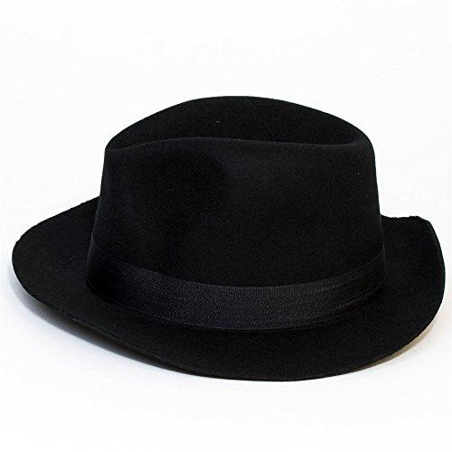 Chapeau en feutre de laine Fedora avec plume (Noir, 58 cm)