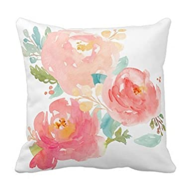 Peonies Summer Bouquet Watercolor Pastel Accent Throw Pillow Case 18x18  Sofa Cushion Cover