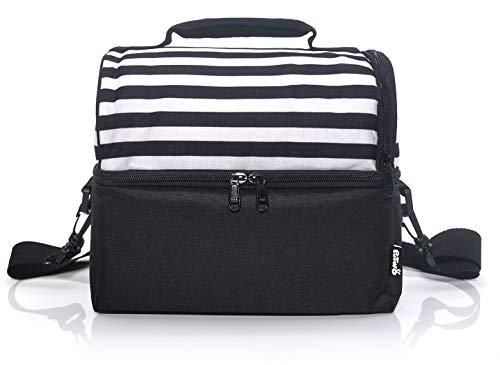 [해외]PuTwo 런치 백 / PuTwo Lunch Bag 8l Insulated Lunch Bags Thermal Cooler Bag Leakproof Lunch Cooler with Adjustable Shoulder Strap Lunch Tote for Adults Men Women Family Kids for Work Office School-Black & White Stripe