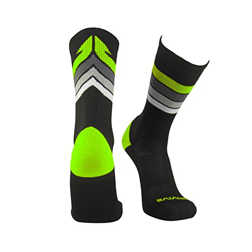 Epivive Retro Refresh Basketball Crossfit Lacrosse Socks (Black/Yellow, Medium)
