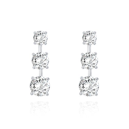PAVOI 14k White Gold Plated Sterling Silver Post Cubic Zirconia Stud Earrings | Wedding Earrings | Drop Earrings for Women ()