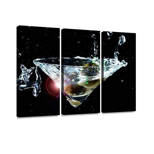 YKing1 Floating Splashing Martini Wall Art Painting Pictures Print On Canvas Stretched & Framed Artworks Modern Hanging Posters Home Decor -