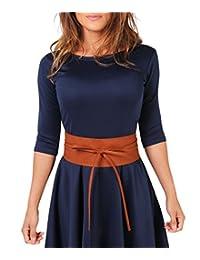 14987-TAN-OS: Tie 'Round PU Leather Waist Cinch Belt