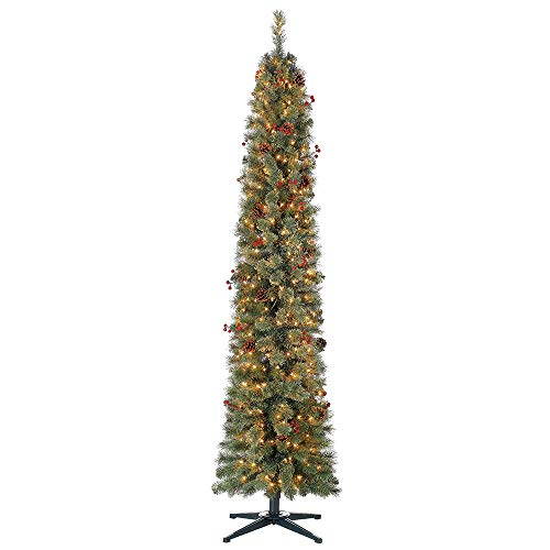 Home Heritage Stanley 7 Ft Skinny Pencil Pine Pre Lit & Decorated Christmas ()