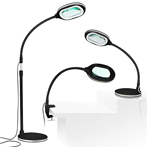 Brightech Lightview Pro 3 in 1 LED Magnifying Glass Floor Lamp- Use as a Table, Floor, or Desk Lamp- Real Diopter Glass Lens – Height Adjustable Gooseneck Standing - Black