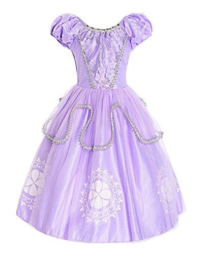 (ReliBeauty Girls Beaded Puff Sleeve Princess Sofia Costume Dress up, 4T-4)