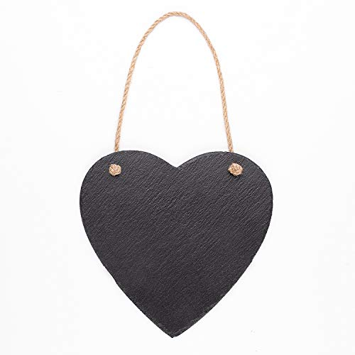 VersaChalk Small Slate Farmouse Hanging Chalkboard Sign, Heart Shape, 10 x 10 Inches - Black Rustic Wall Décor for Kitchen, Wedding, Bathroom, Outdoor Garden, Pantry Signs