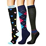 YOLIX Compression Socks for Women & Men 20-30 mmHg - 3/6 Pairs - Best Knee High Socks for Cycling, Travel, Medical, Pregnancy, Nurse