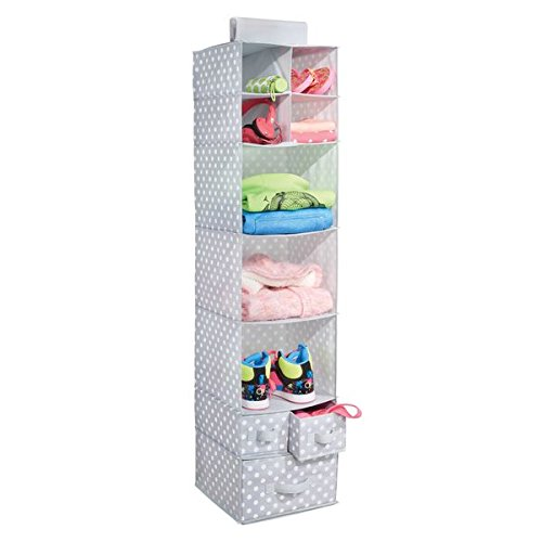 mdesign fabric hanging closet storage organizer with shelves and drawers for bedroom, hallway, entryway – gray/white