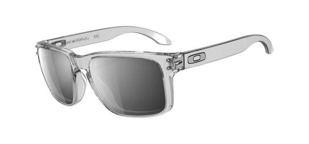 Oakley Holbrook Sunglasses, Clear Frame/Chrome Iridium Lens, One Size
