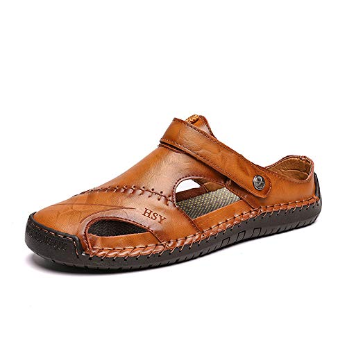 Men's Sandals Casual Comfortable Leather Sandals Roman Outdoor Beach Sandals(Brown,11