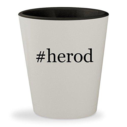 King Herod Costumes (#herod - Hashtag White Outer & Black Inner Ceramic 1.5oz Shot Glass)