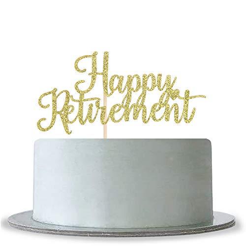 Happy Retirement Cake Topper Gold Glitter Retirement Party Supplies Decoration -