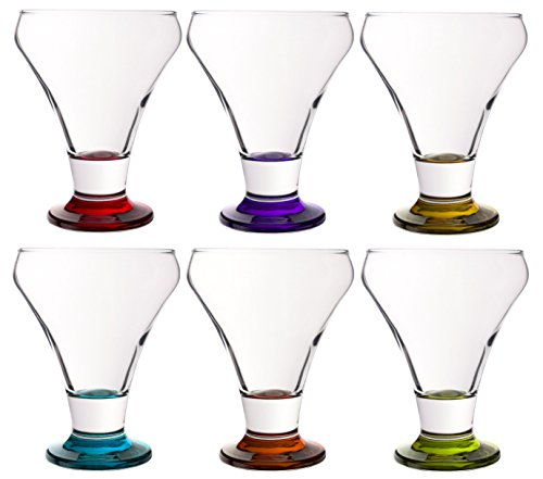 (Colored Serverware 6-Piece Mini Martini Footed Dessert Glass Set, 10.25 Ounce)