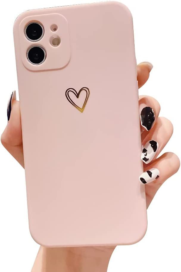 Ownest Compatible with iPhone 11 Case for Soft Liquid Silicone Gold Heart Pattern Slim Protective Shockproof Case for Women Girls for iPhone 11-Pink