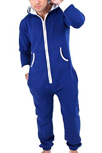 Juicy Trendz Mens Plain Onesie Hoodie Jumpsuit Playsuit All In One Piece Blue X-Large