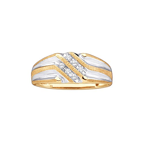 Roy Rose Jewelry 10K Yellow Gold Mens Round Diamond Double Row Two-tone Ridged Wedding Band Ring 1/8 Carat tw ~ Size 10 - 2 Tone Diamond Mens Rings