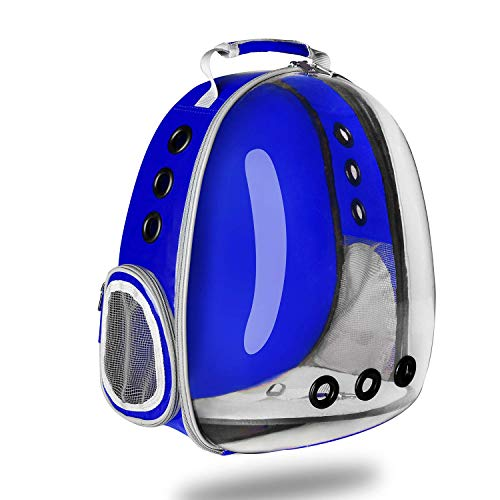 SuYoYo Transparent Pet Carrier Waterproof Puppy Travel Bag Breathable Airline Approved Space Capsule Backpack for Cat Dog(Blue)