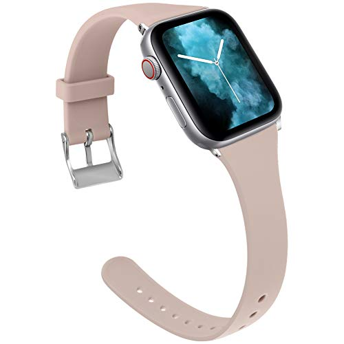 Kaome Sport Band Compatible with Apple Watch Band 44mm 42mm, Slim Elegant Strap, Soft Silicone Replacement Wristband for iWatch Band Series 4 3 2 1, Durable Colorful Design for Women, ()