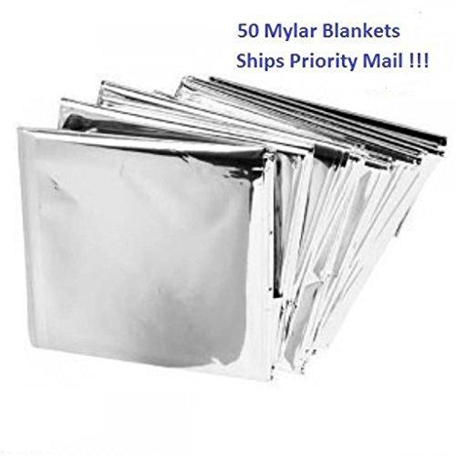 50 Packs Mylar Emergency Solar Blanket Aluminized Polyethylene 54