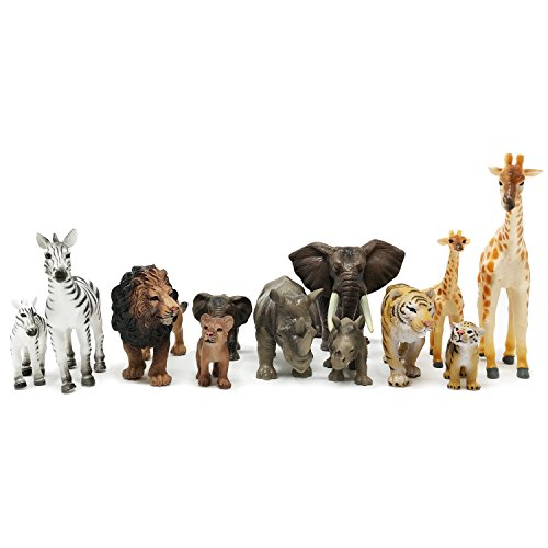 Plastic Zoo - Boley 12-Piece Safari Animal Set - With Different Varieties of Zoo Animal Toys, Jungle Animal Toys, African Animal Toys and Baby Animals - Great Educational Toy and Child Development Toy