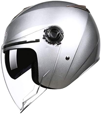 ZJJ ヘルメット- 電動二輪車用フルカバーヘルメット、マルチカラーオプションヘルメット、高精細透明レンズ (色 : シルバー しるば゜, サイズ さいず : 25x32cm)