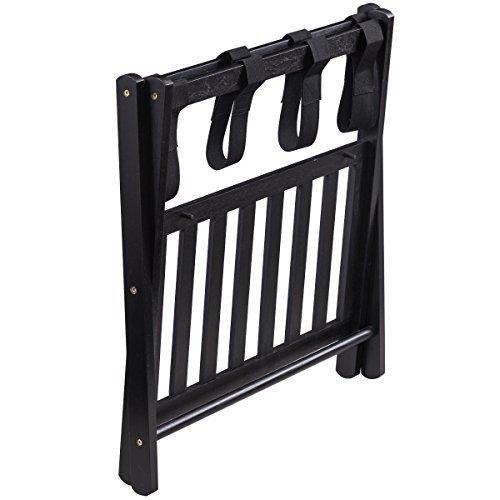 FDInspiration 26.4'' Black Folding Wood Luggage Rack Stand Capacity 88 Llbs w/Bottom Shelf