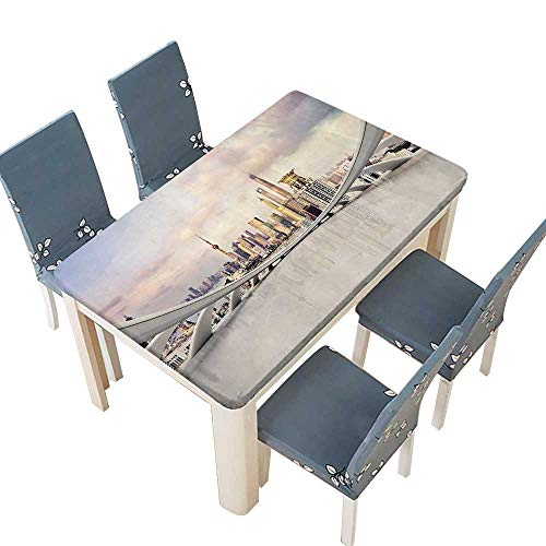 PINAFORE Indoor and Outdoor Tablecloth City Skyline Traffic and in Shanghai China Cloudscape Commercial White Liquid Spills Bead up W25.5 x L65 INCH (Elastic Edge)