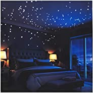 Glow in The Dark Stars Wall Stickers,252 Adhesive Dots and Moon for Starry Sky, Decor for Kids Bedroom or Birt
