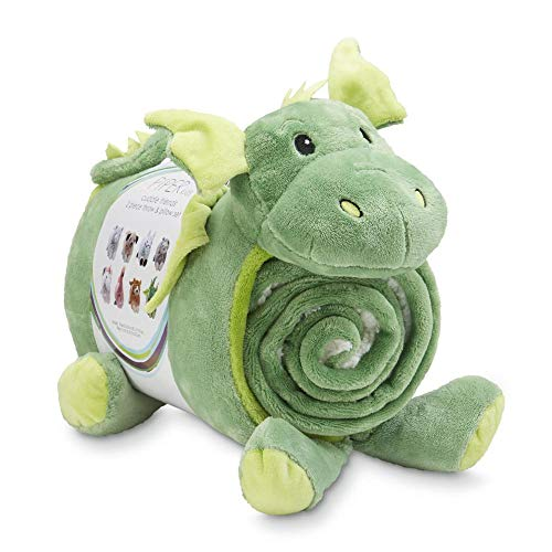 Dragon Pillow and Throw Blanket Baby Shower Present 2 Piece Gift Idea Piper Kids Cuddle Friends, Infant, Toddler Nap Fleece Pillow & Blanket Set for Boys and Girls from Piper Kids