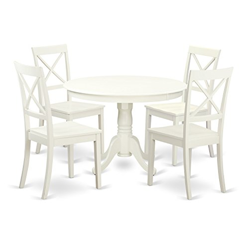 East West Furniture HLBO5-LWH-W 5Piece Hartland Set with One Round 42in Dinette Table & 4 Dinette Chairs with Solid Wood Seat in a Linen White Finish