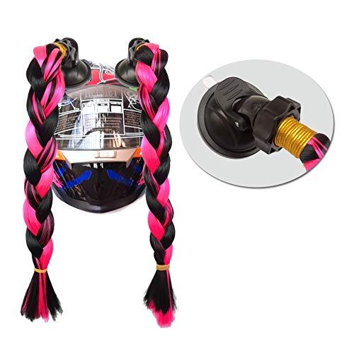 (Hai Hong Helmet Hair Helmet Pigtails Brainds Helmet Ponytail with Suction Cup for Motorcycle Bike Black to Red 14inch)