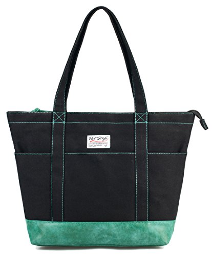 AMY School Shoulder Bag Tote Large College Purse | Holds 12-inch Laptop | Black/Green