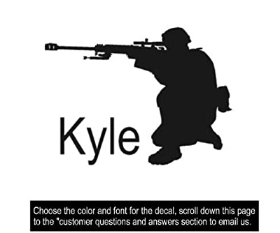 Soldier decal, Military sticker, Personalized decal, Vinyl wall decor, 21 X 28 inches, by aluckyhorseshoe