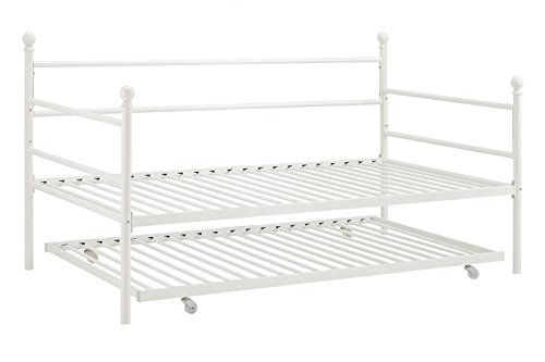 Moon_Daughter Bed Trundle Sliding Under Twin Size Metal Frame Bed White Apartment Dorm