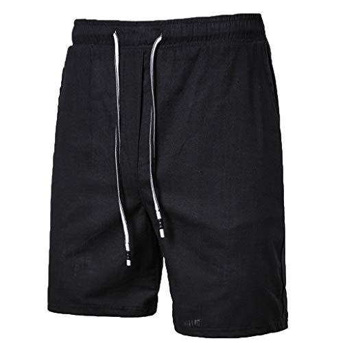 LQRACHEL Shorts for Men Elastic Waist Cotton Linen Solid Summer Beach Shorts Plus Size -