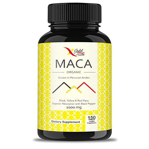 Cheap Organic Maca Root Powder Capsules Black, Yellow, Red -1000mg Serving Peruvian Maca for Men & Women, Superfood, Natural Energy Booster, 150 Vegan Pills Gelatinized + Black Pepper for Best Absorption