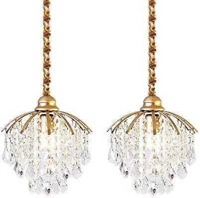 KIRIN Gold Crystal Pendant Lighting Modern Chandelier 1-Light Ceiling Fixture Hanging Lamp for Kitchen Living Room Bedroom Dining Room Foyer 2 Pack