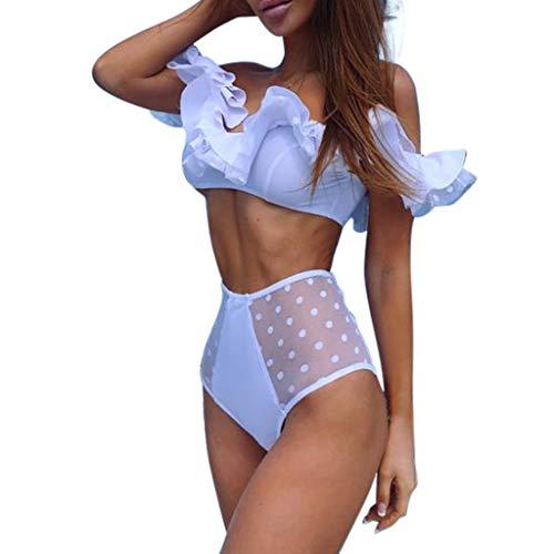 Alangbudu Women Two Piece Off Shoulder Ruffled Flounce Crop Bikini Top with High Waisted Mesh Cut Out Bottoms White