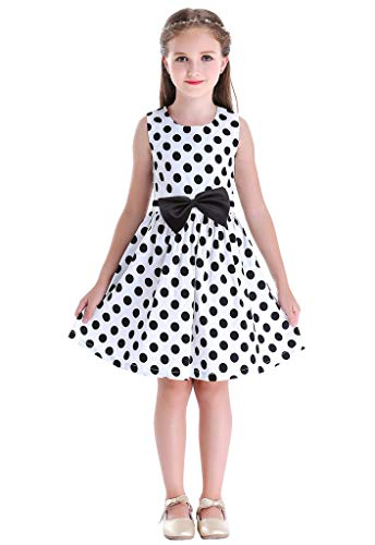 - Bow Dream Little Girls Dress Country Flower Casual Dress for Girls Dots White 6