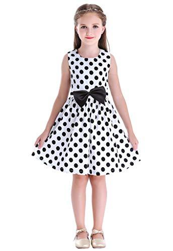 Bow Dream Little Girls Dress Country Flower Casual Dress for Girls Dots White 4
