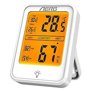 Aerb Igrometro Digitale, Igrometro ad alta Precisione, Compatibile ℃ o ℉, con Retroilluminazione per Casa, Ufficio… 41wtCPuchuL. SS300
